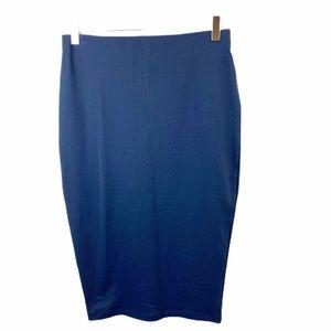 David Lerner Navy Blue Stretch Pencil Skirt Medium